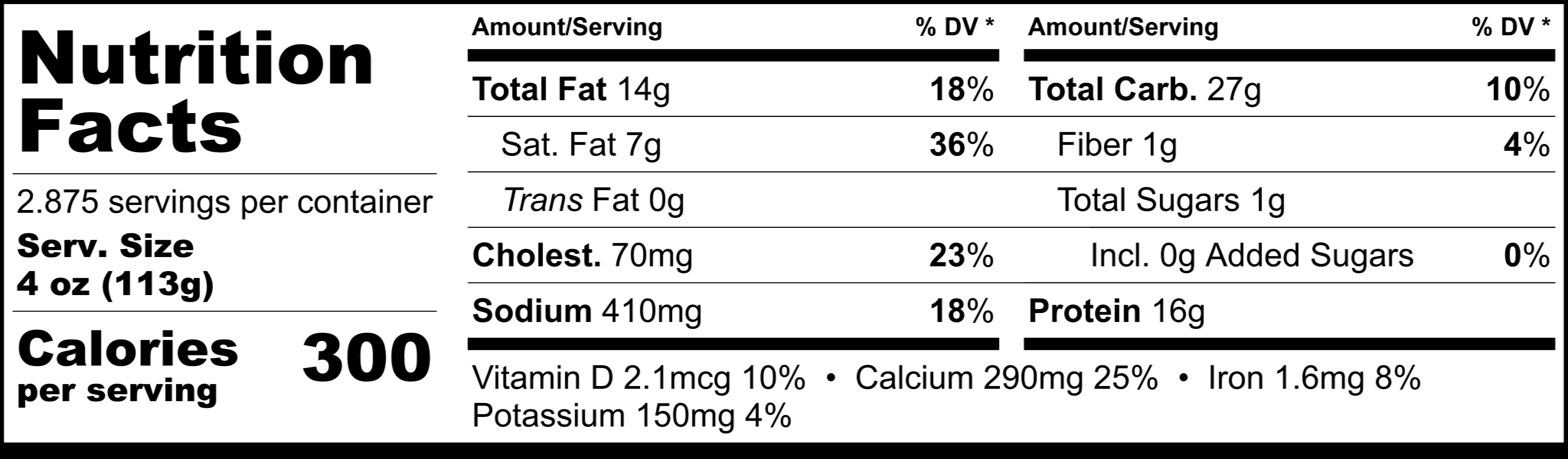 Pappardelle's Basil Pesto Ravioli Nutritional Statement