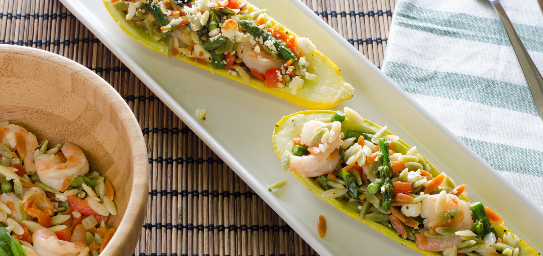 Summer Squash Stuffed with Rainbow Orzo & Shrimp Salad
