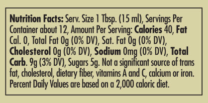 Pappardelle's Vanilla Fig Balsamic 177ml Nutritional Statement