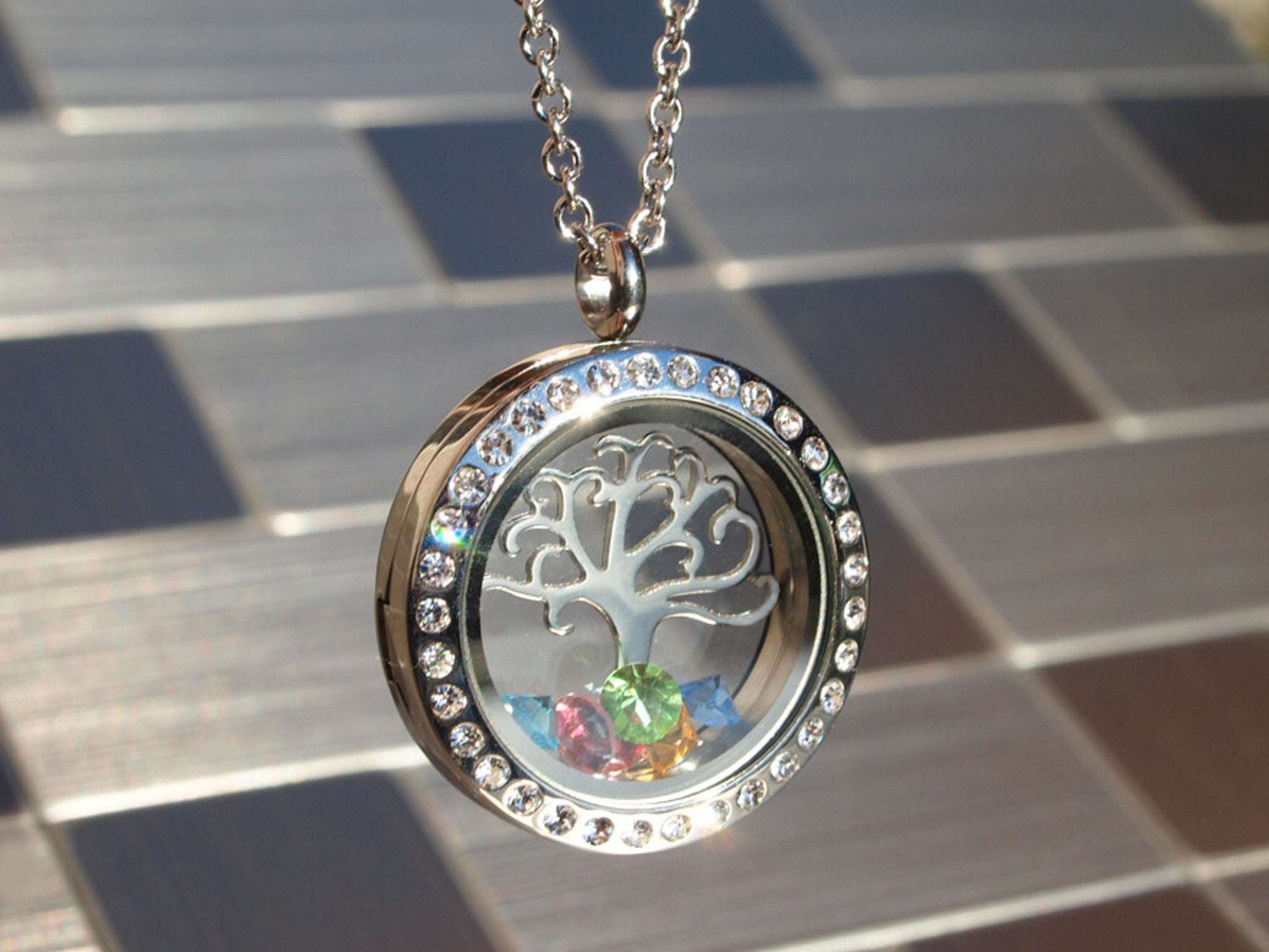 necklace silver tree hand sterling familytreenecklacecustomtreedesign personalised stamped family store pendant