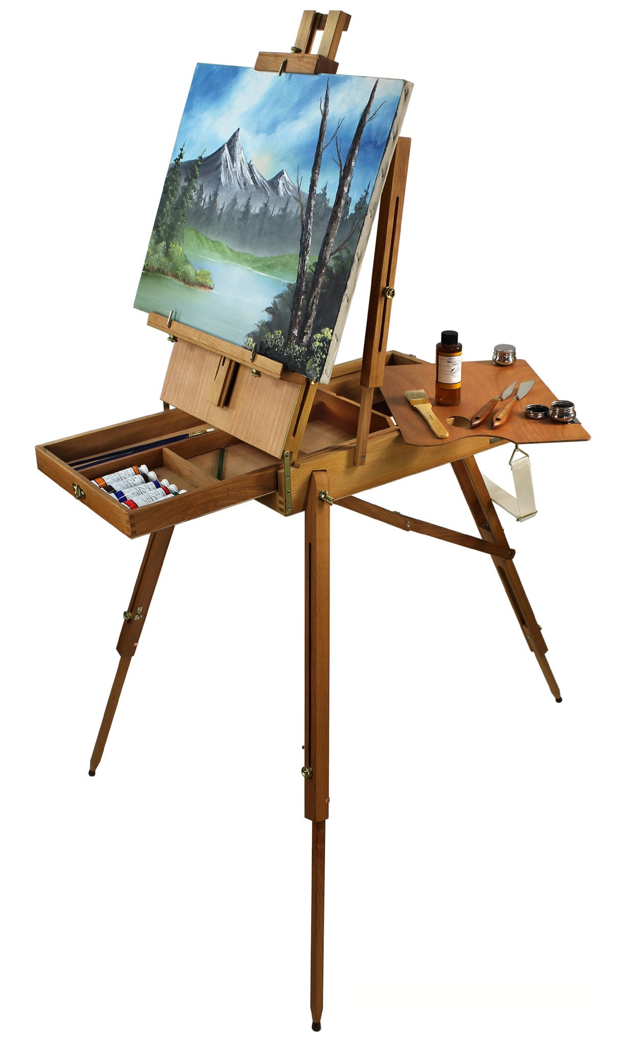 Hardwood french art easel w comprehensive artist quality painting supplies set - High quality exterior paint set ...