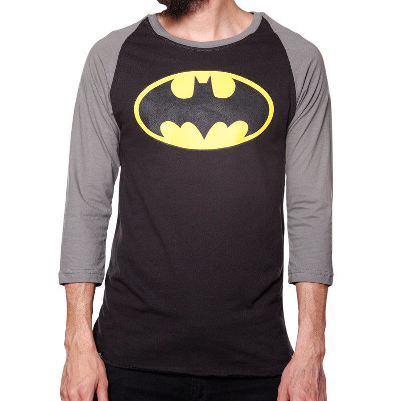 Playera Logo Batman Gris Manga 3/4