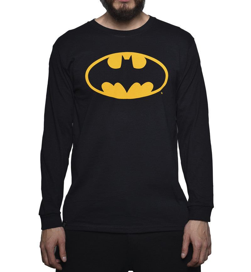 Playera Logo Batman Manga Larga Negra