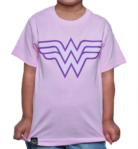 Playera Niño Logo Wonder Woman Rosa