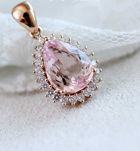 18K rose gold 1.9 karats rare find light pink morganite diamond necklace