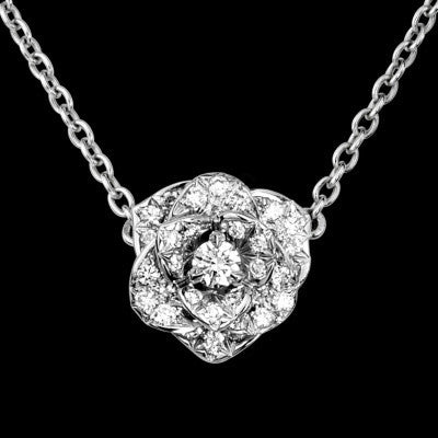 18k white gold023cts color hclarity sivg cut diamond rose flower 18k white gold diamond rose flower necklace mightylinksfo