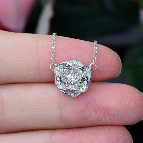 18K white gold diamond rose flower necklace