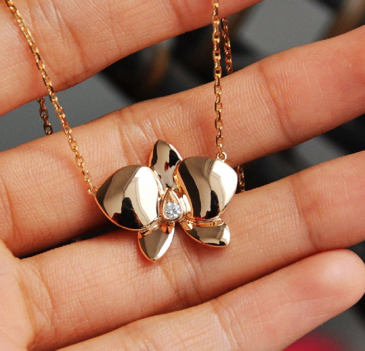 Wedding Jewelry Matte Gold Orchid And Pearl Pendant Necklace Flower White Bridal Neklace