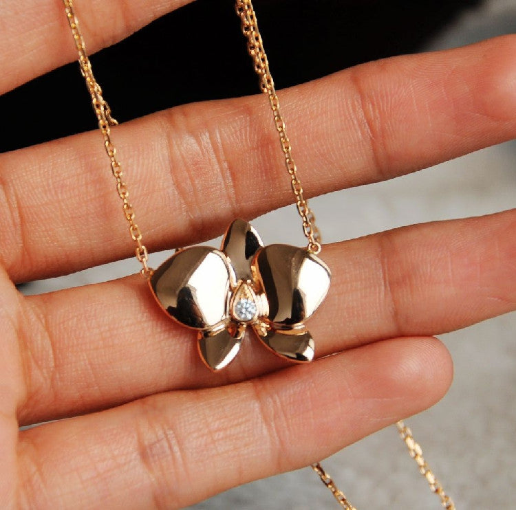 Gold Orchid Necklace Lariat Flower With By Smilesophie