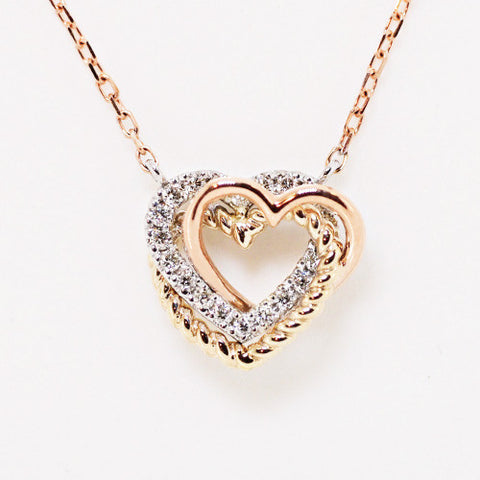 18K gold, white gold & rose gold 3 hearts diamond necklace