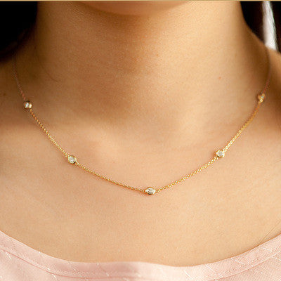 white gold or Gold  7 round diamond stations necklace