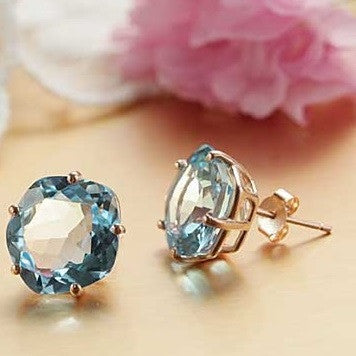 13mm Large Blue Topaz, Handmade Earrings