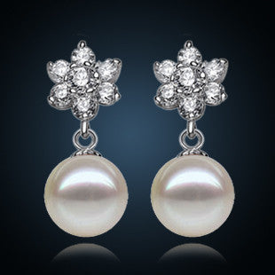 Sterling Silver Pearl Earrings with CZ