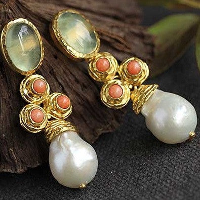 Handmade Prehnite Pearl earrings - Exclusively For You