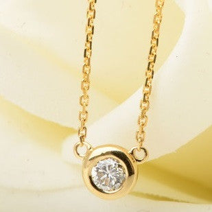 18K Gold, white gold or Rose gold Round Diamond Necklace - Designer Inspired