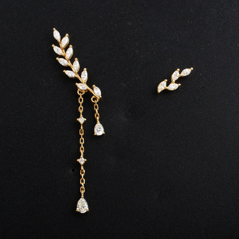 18K white gold Long Leaf Diamond Earrings