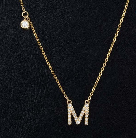 18K gold, rose gold or white gold Initial letter diamond necklace