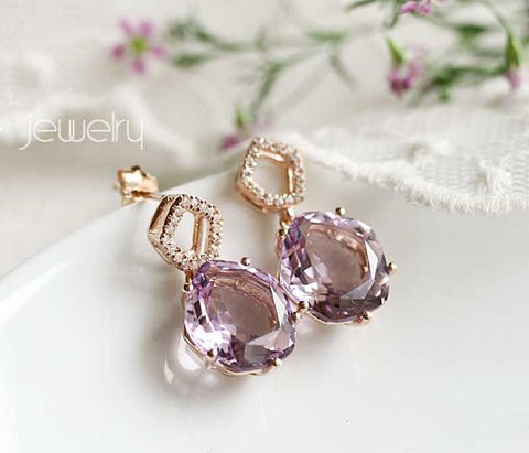 18K gold over 925 silver purple topaz earrings