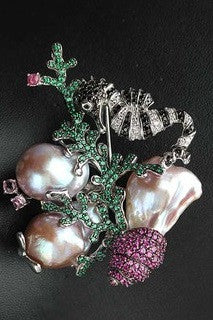 Tourmaline , baroque pearl necklace or Brooch 2 in 1 - Exclusive