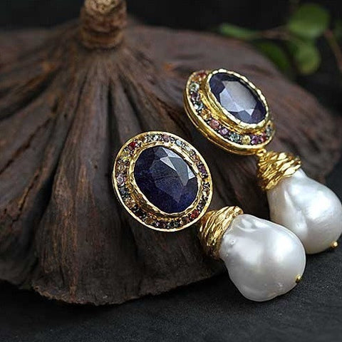 Handmade blue Aquamarine, baroque pearl earrings - Exclusively For You