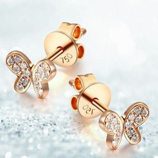18K Gold or White Gold or Rose Gold Butterfly Earrings