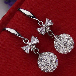 Sterling Silver Crystal Ball and Bow tie Earrings