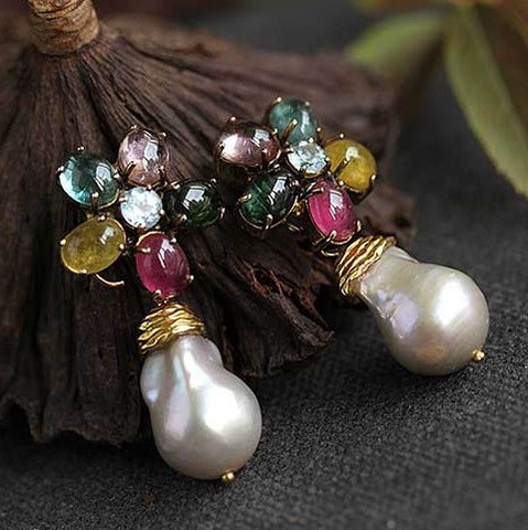 18K gold over silver, Brazil tourmaline, baroque pearls-Exclusive