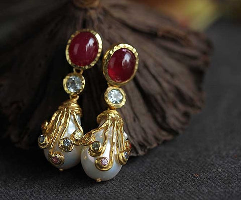 Handmade ruby, pearls earrings - Exclusively For You
