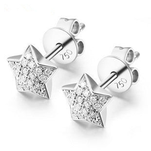 Handmade 18K Gold Star Diamond Earring