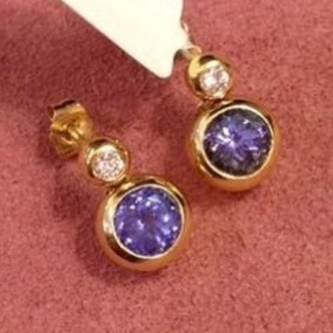 18K 2 carats rare find grade 5A Tanzanite stone gold diamond earrings