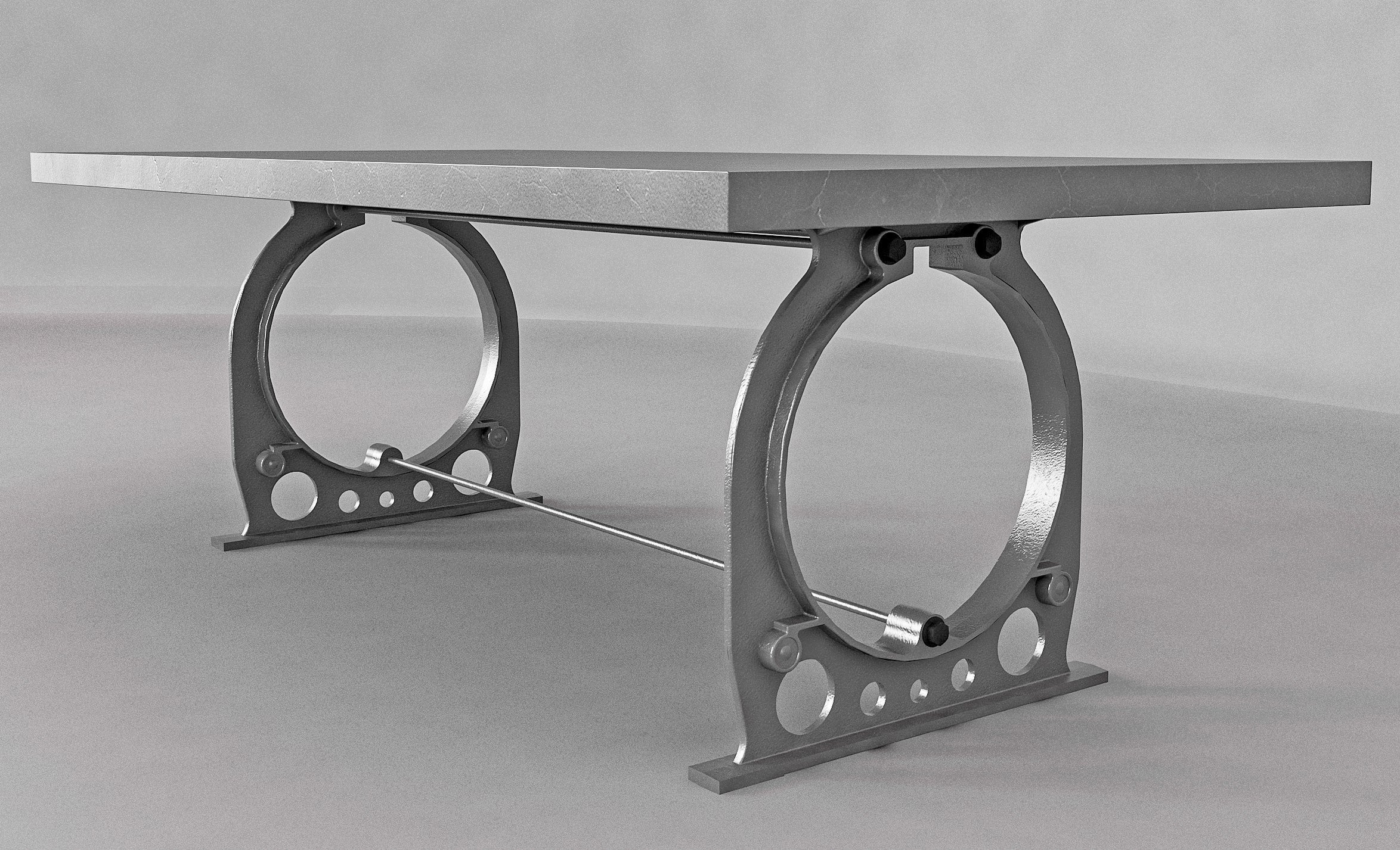 Picture of: Industrial Cast Iron Dining Table Base Style 2 Industrial Wood Metal