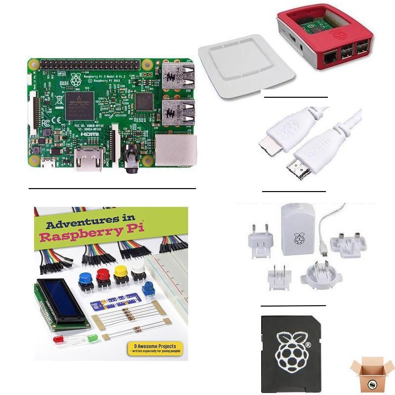 Pakronics Raspberry Pi 3 Model B starter kit with Adventure in Raspberry Pi Book's components