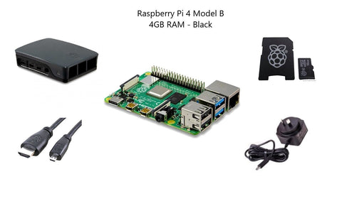 Raspberry Pi 4 Model B 4 GB Starter Kit - Black