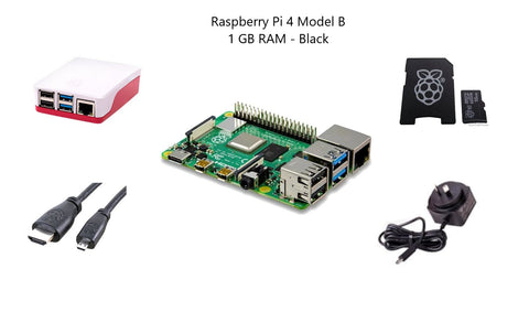 Raspberry Pi 4 Model B 1 GB Starter Kit - Black