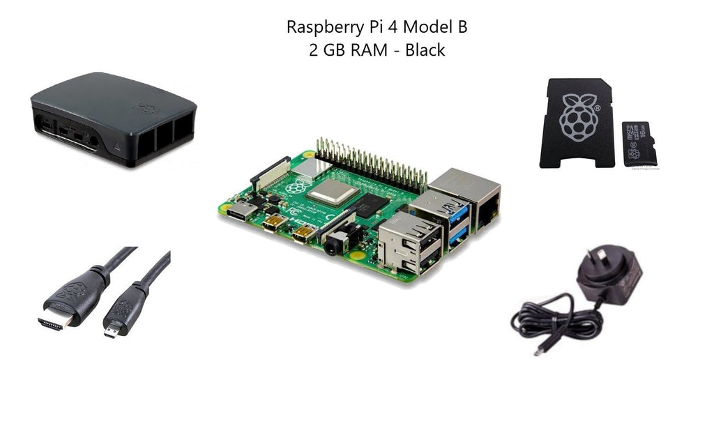 Raspberry Pi 4 Model B 2 GB Starter Kit - Black