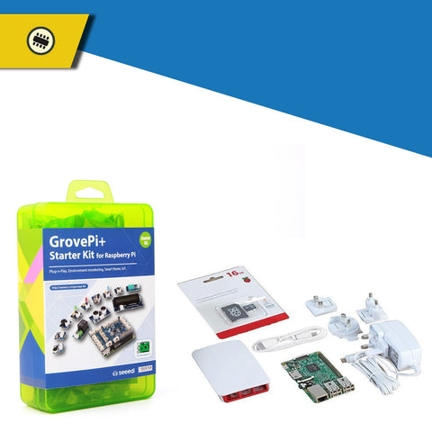 Pakronics Raspberry Pi 3 Model B PLUS Starter Kit With GrovePi+ (CE Certified) plugable sensors kit