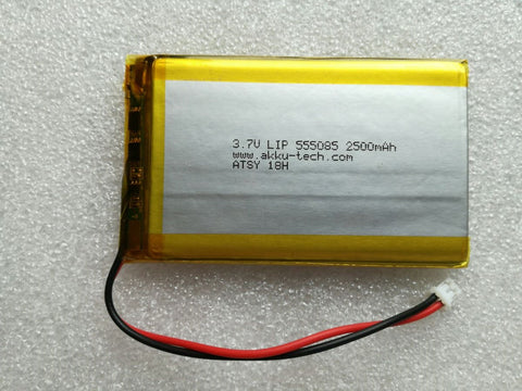 Lithium Ion Polymer Battery 3.7v 2500mA with JST connector