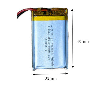 Lithium Ion Polymer Battery 3.7v 700mAH with JST connector