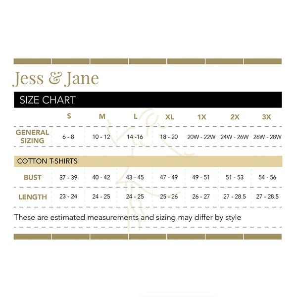 Jess and Jane Size Chart