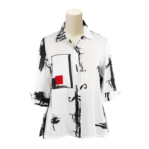 Moonlight Abstract Print Button Front Swing Shirt in Black/White/Red - 3007
