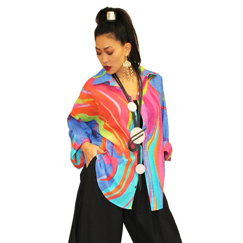 Dilemma O'Keefe Inspired Cotton Big Shirt in Multicolor - FCBS-129-OKEE