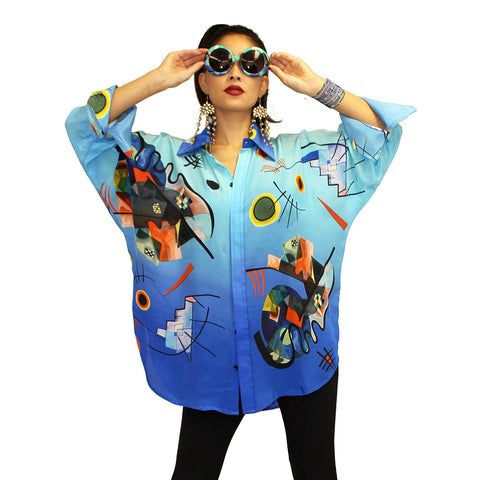Dilemma Kandinsky Inspired Art Print Big Shirt in Multi - FRBS-226-KAN