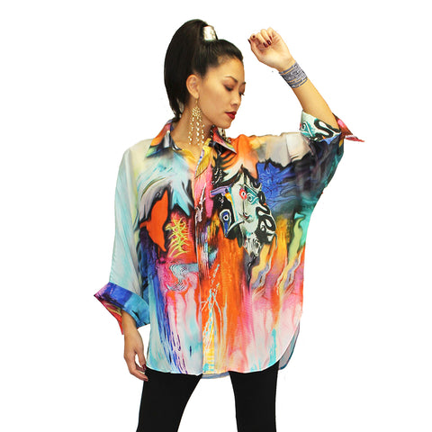 Dilemma Picasso Inspired Art Print Big Shirt in Multicolor - FRBS-228-PIC