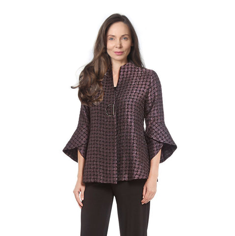 IC Collection Trumpet Sleeve Jacket in Plum - 2044J-PLM - Sizes S, XL & XXL Only