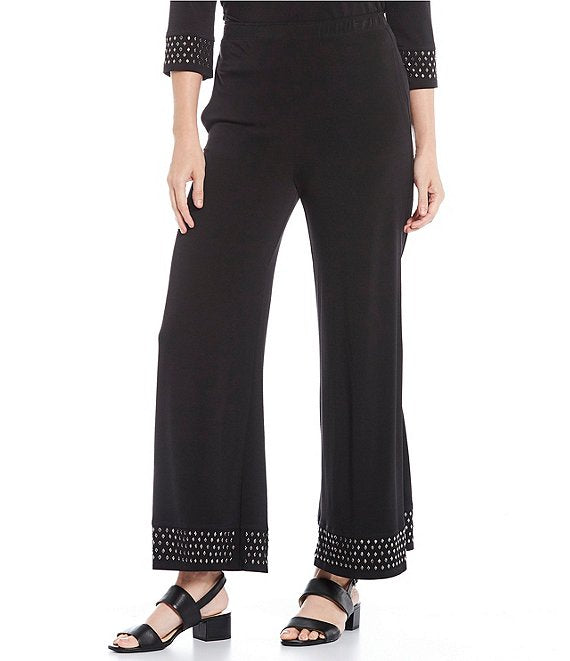 IC Collection Stretch Knit Palazzo Pants with Studded Border - 1801P