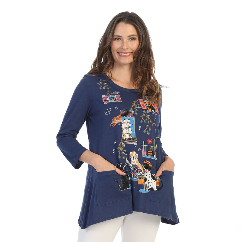 "Jess & Jane ""Serenade"" Dog Lovers Pocket Tunic Top in Navy - CS4-1496 - Sizes S & M"