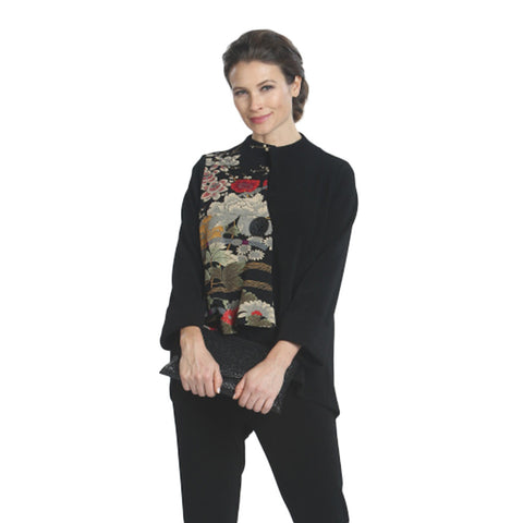 IC Collection Floral-Print Asymmetric Jacket - 1022J-BLK - Sizes S & M Only