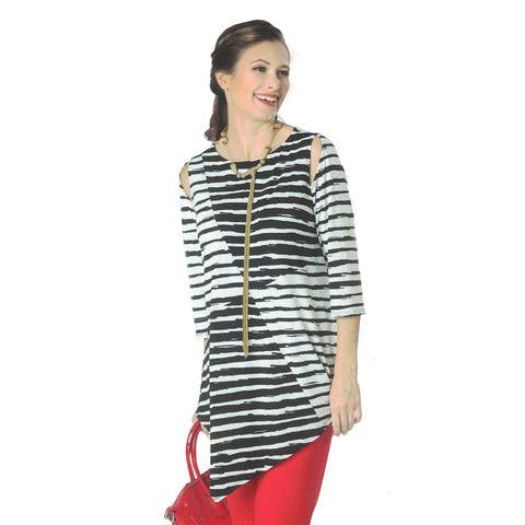 IC Collection Peek-A-Boo Shoulder Stripe Tunic in Black & White - 1026T - Size XL Only