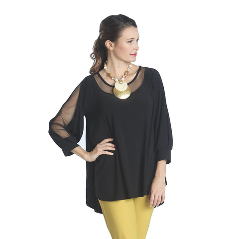 IC Collection High-Low Mesh Trim Tunic in Black - 1027T-BK