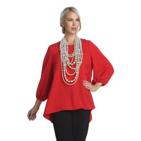Scoop-Back Cascading Crepe Bow Blouse in Red - 1028B-RED - Size S Only
